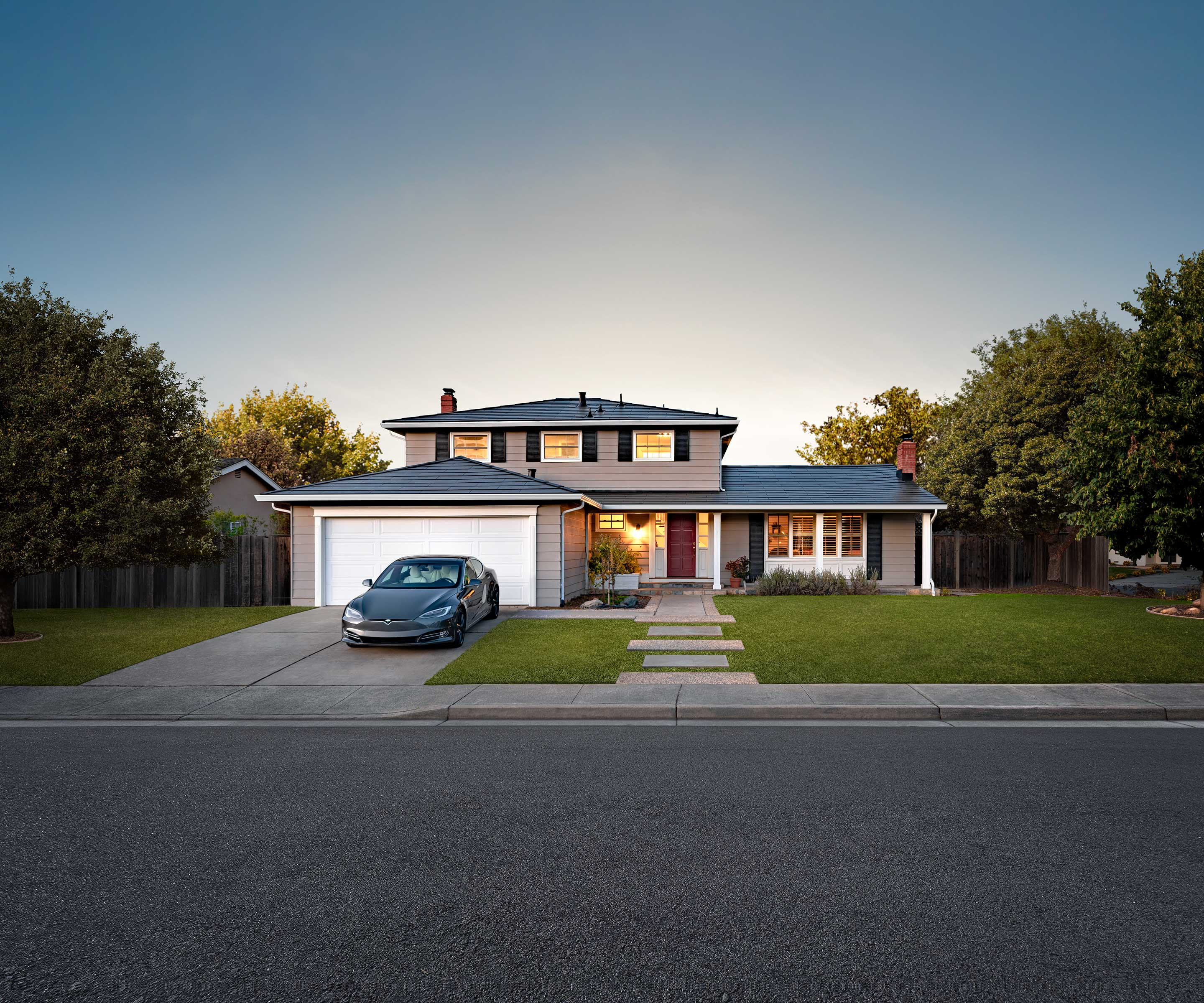 Contemporary style home outfitted with Tesla Solar Roof