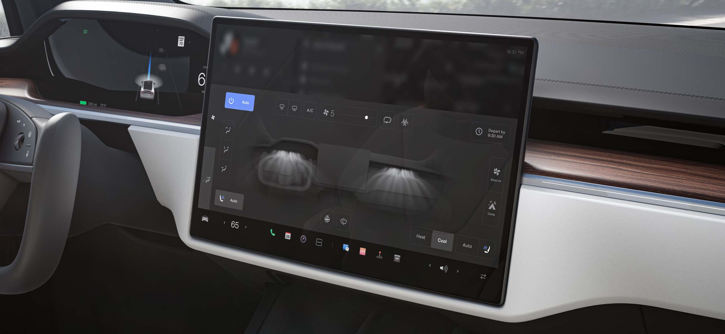 Model X center display with climate control