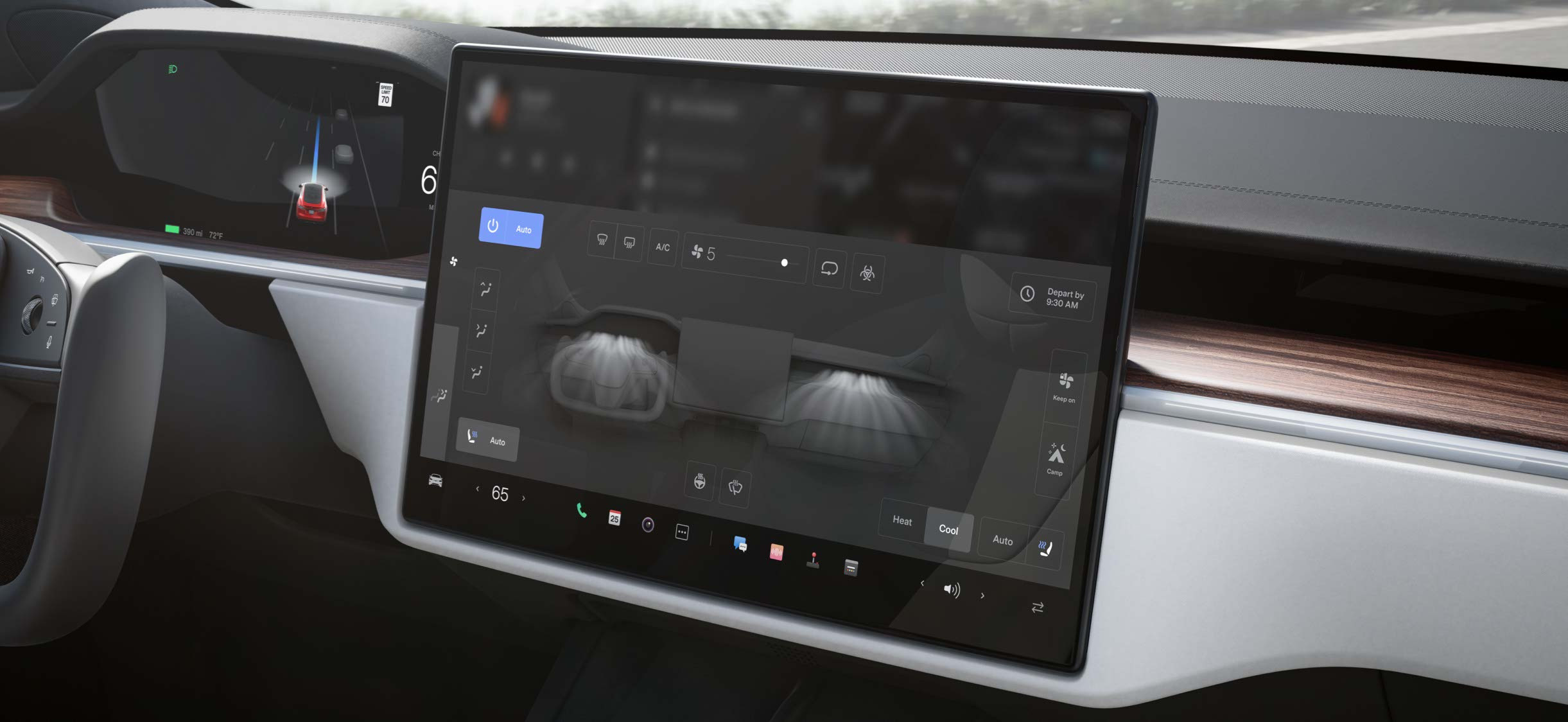 Model S Touchscreen mit Klimaanlagen-Bedienfeld