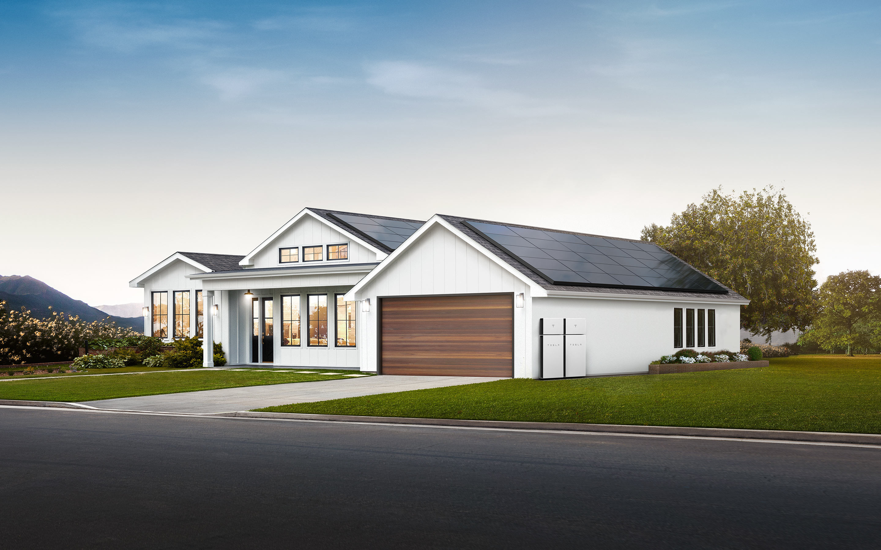 Ranch style home powered by Tesla solar panels and Powerwall