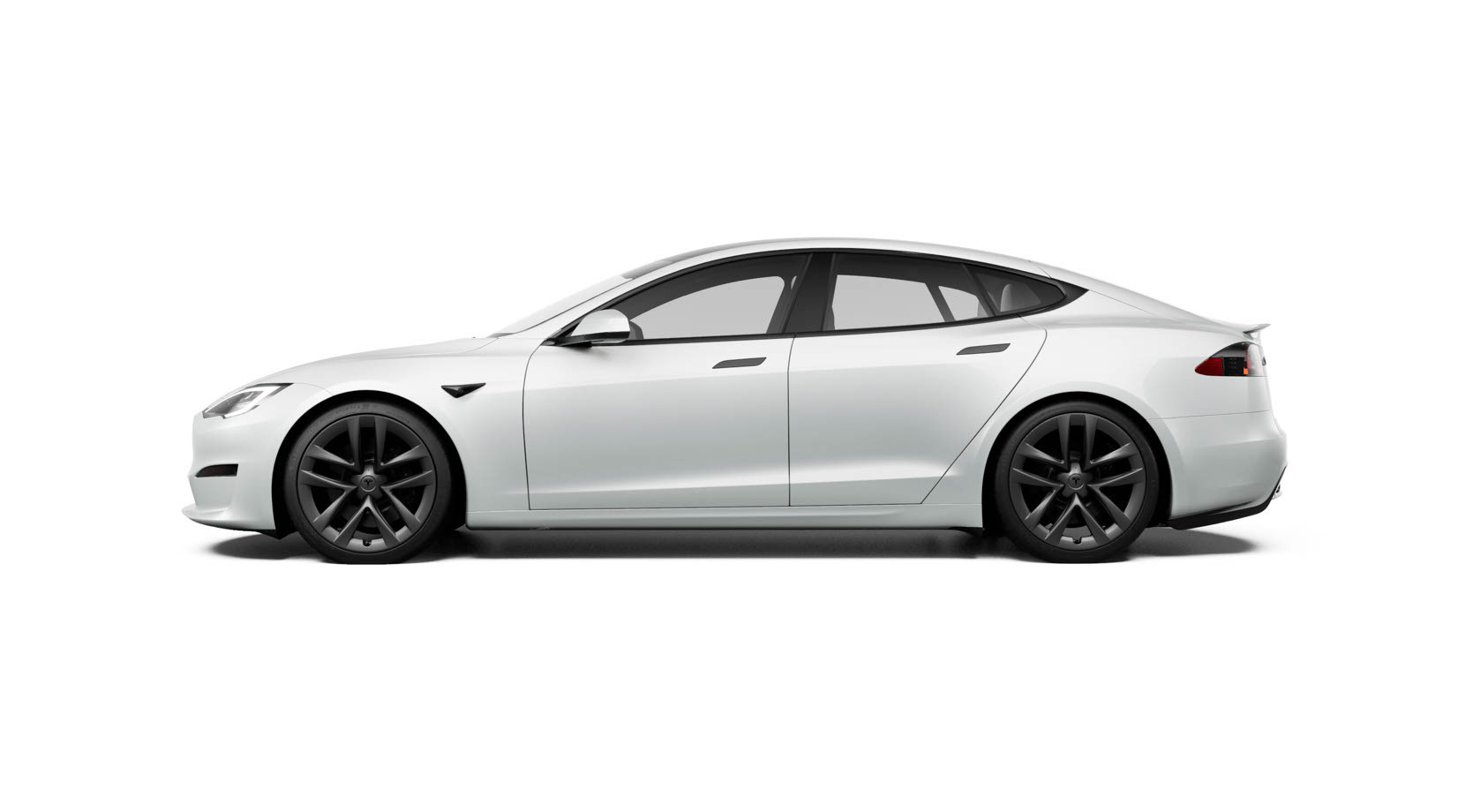 Side view of pearl white Model S