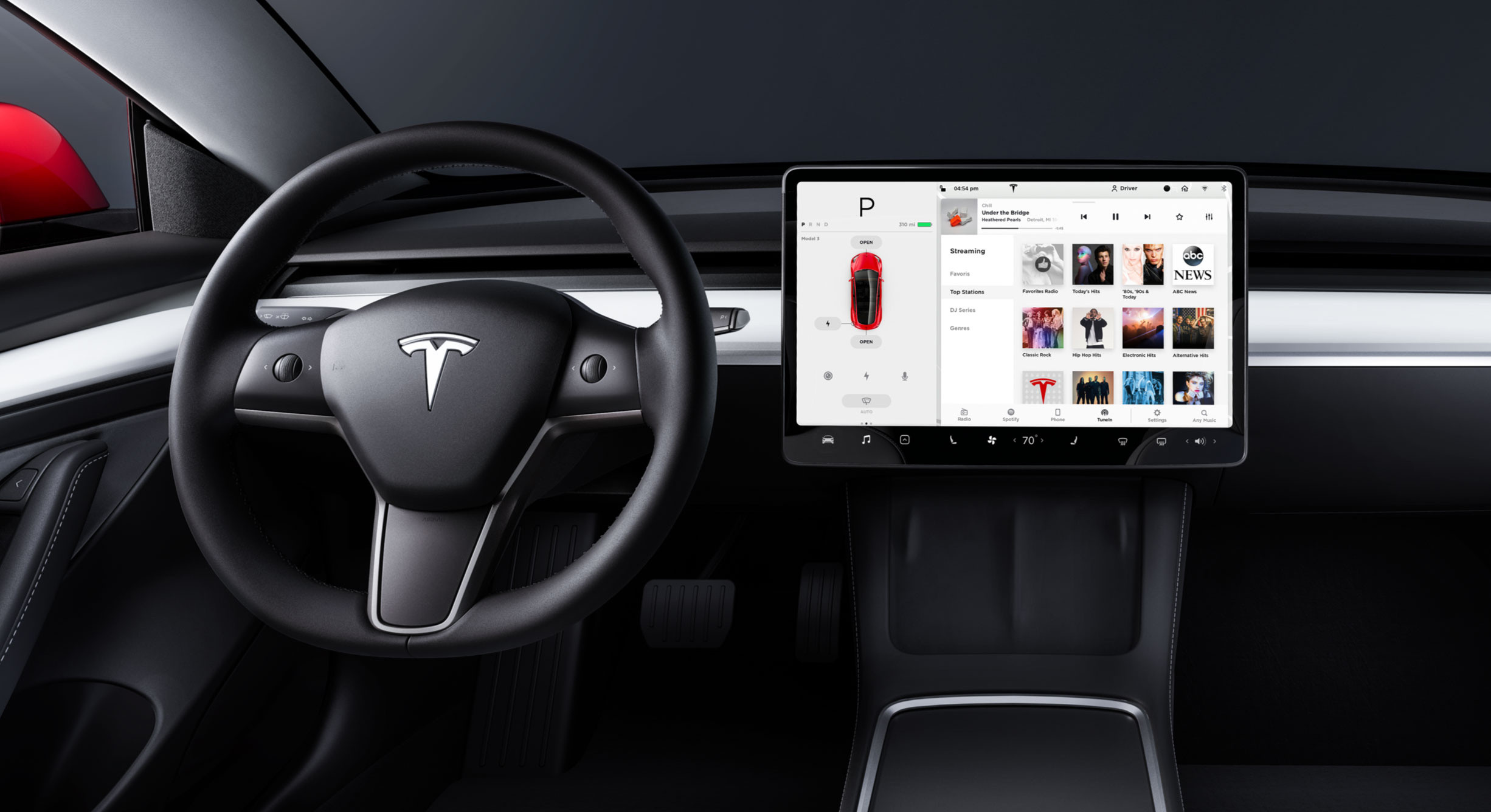 Media screen on Model 3 touchscreen