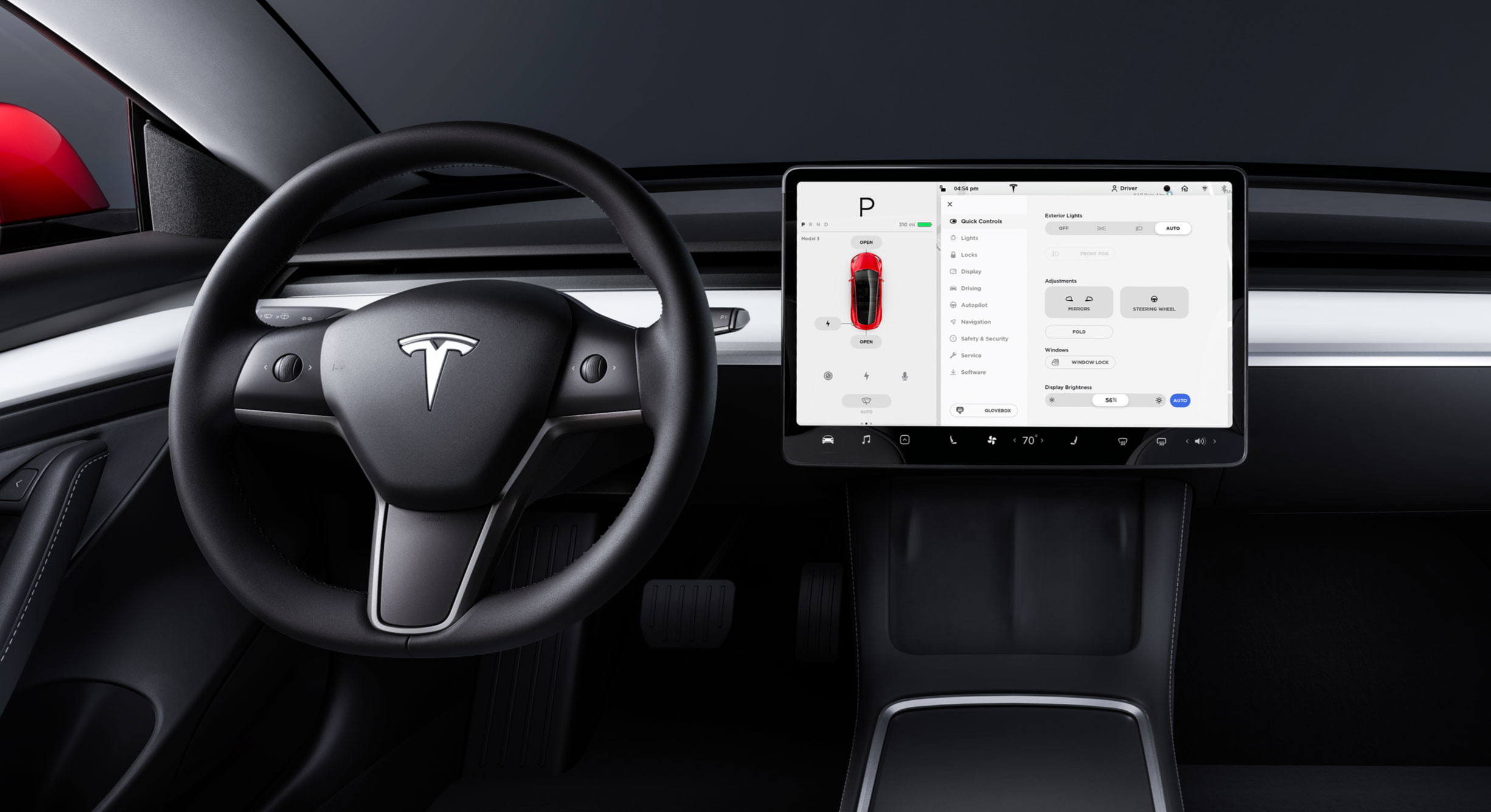 Controls screen on Model 3 touchscreen