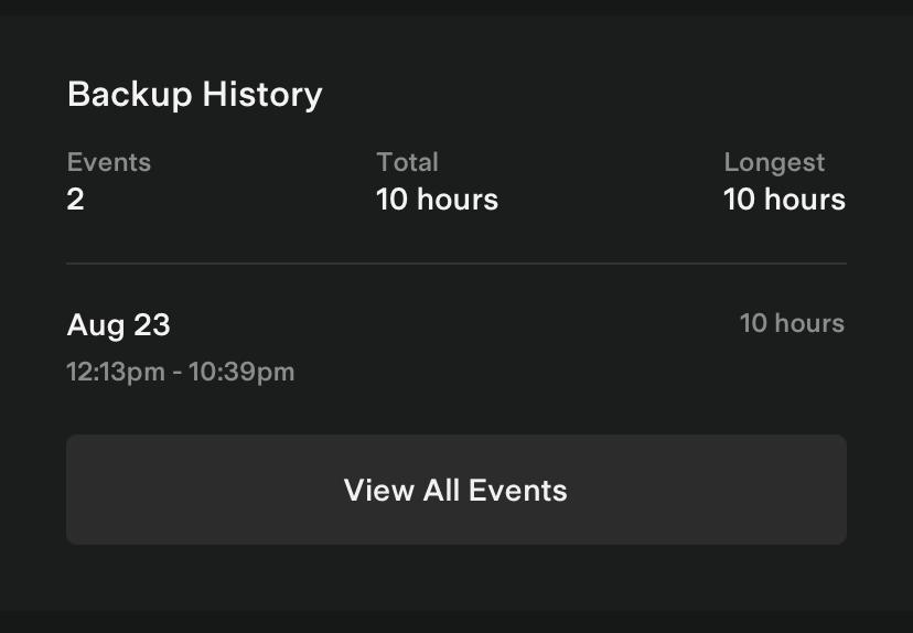Tesla App Backup History Impact Card