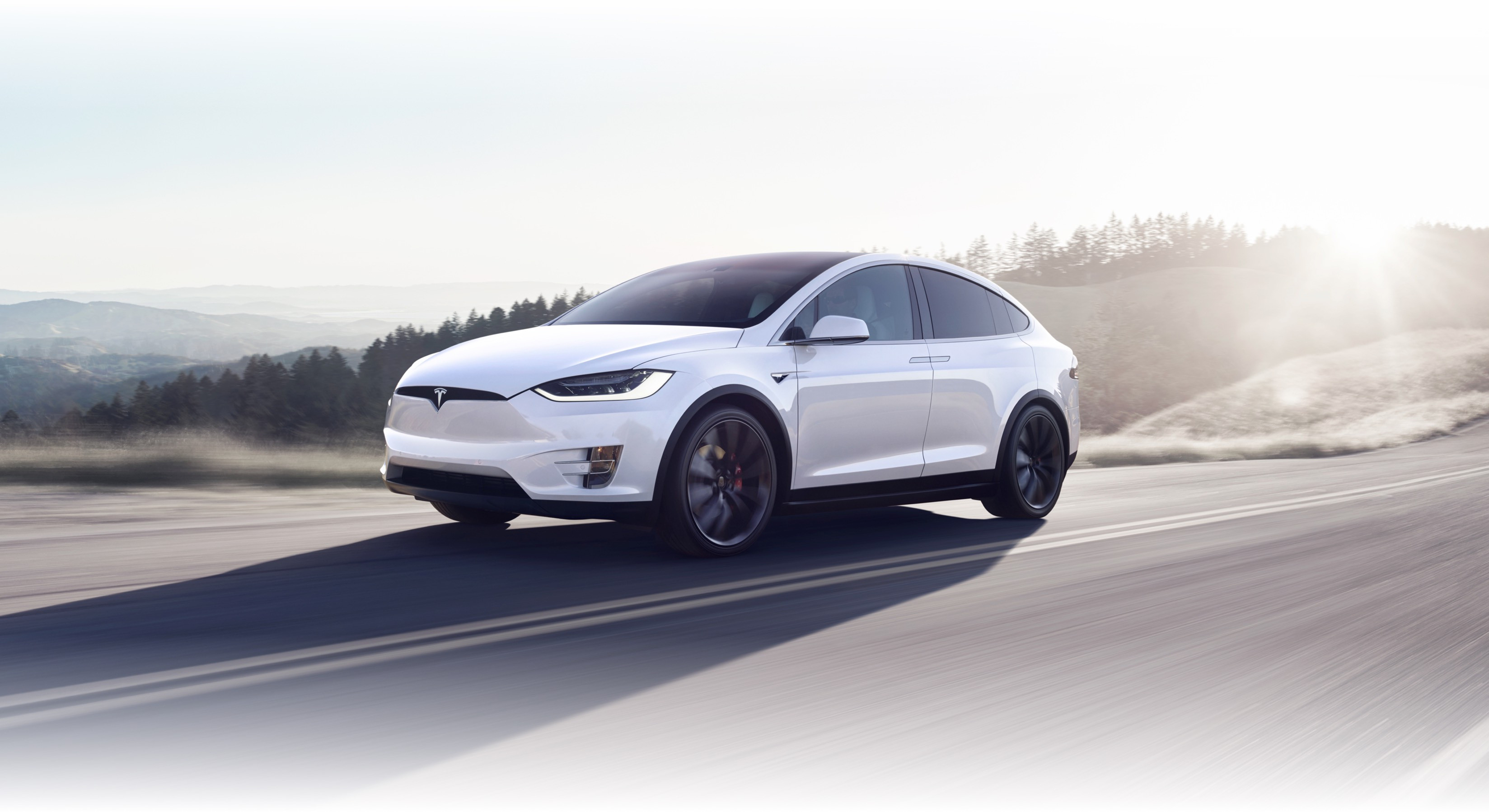 Pearl white Model X navigating a mountainous road