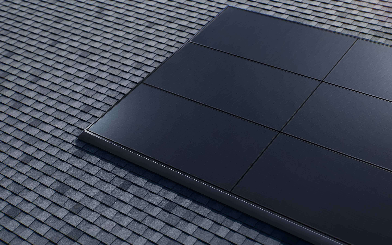 Tesla solar panels close up