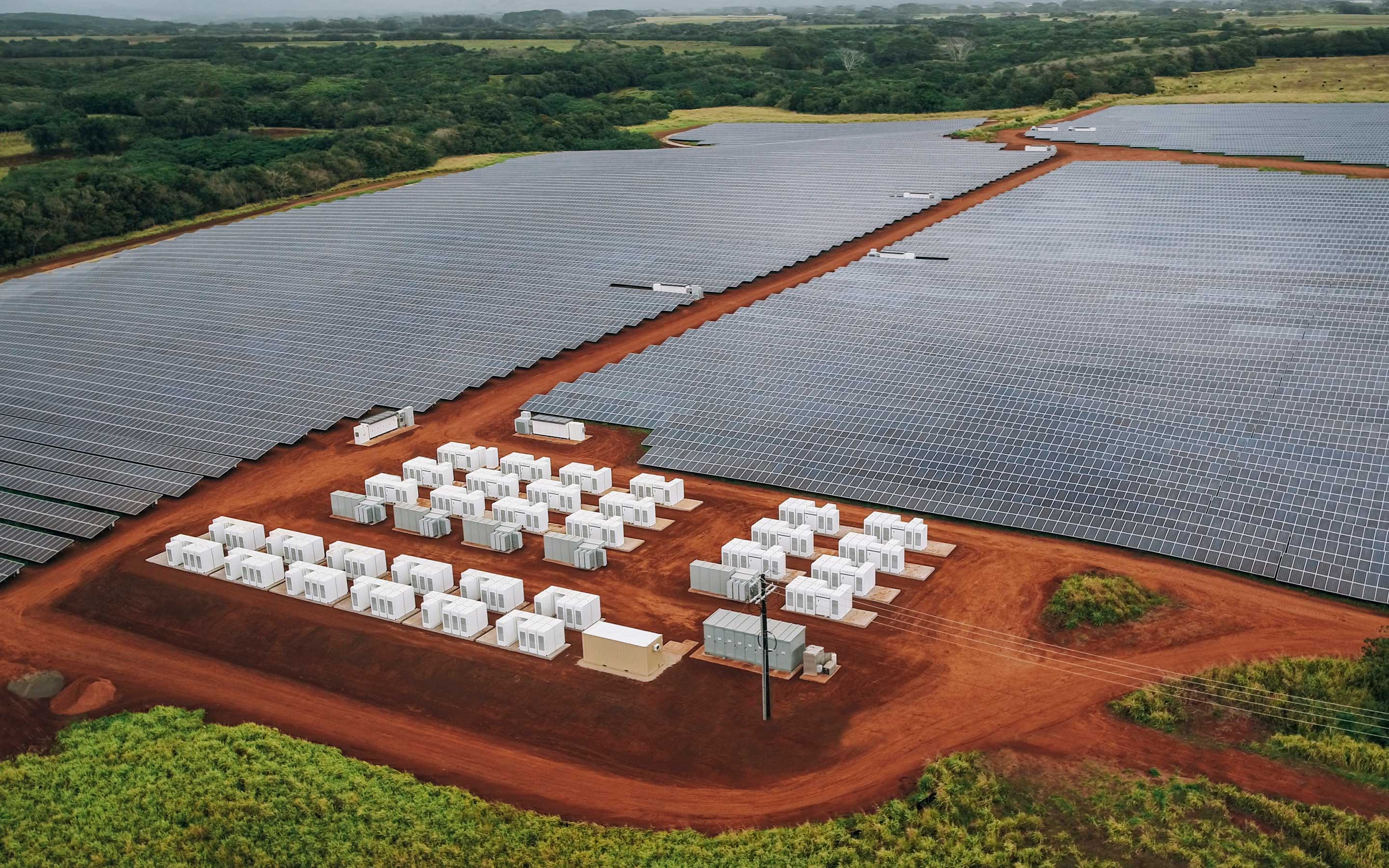 Solar panels and Megapacks on Kauai, Hawaii