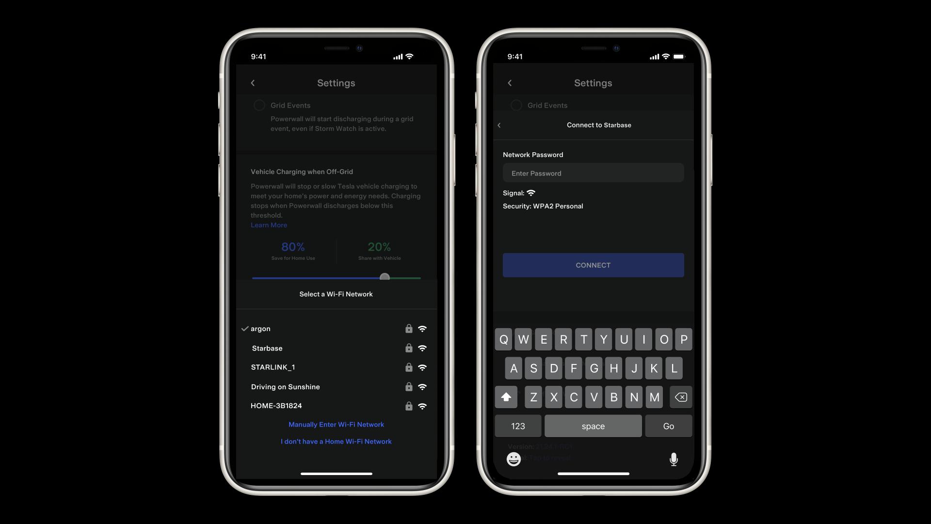 Tesla App Connecting Powerwall to Wi-Fi