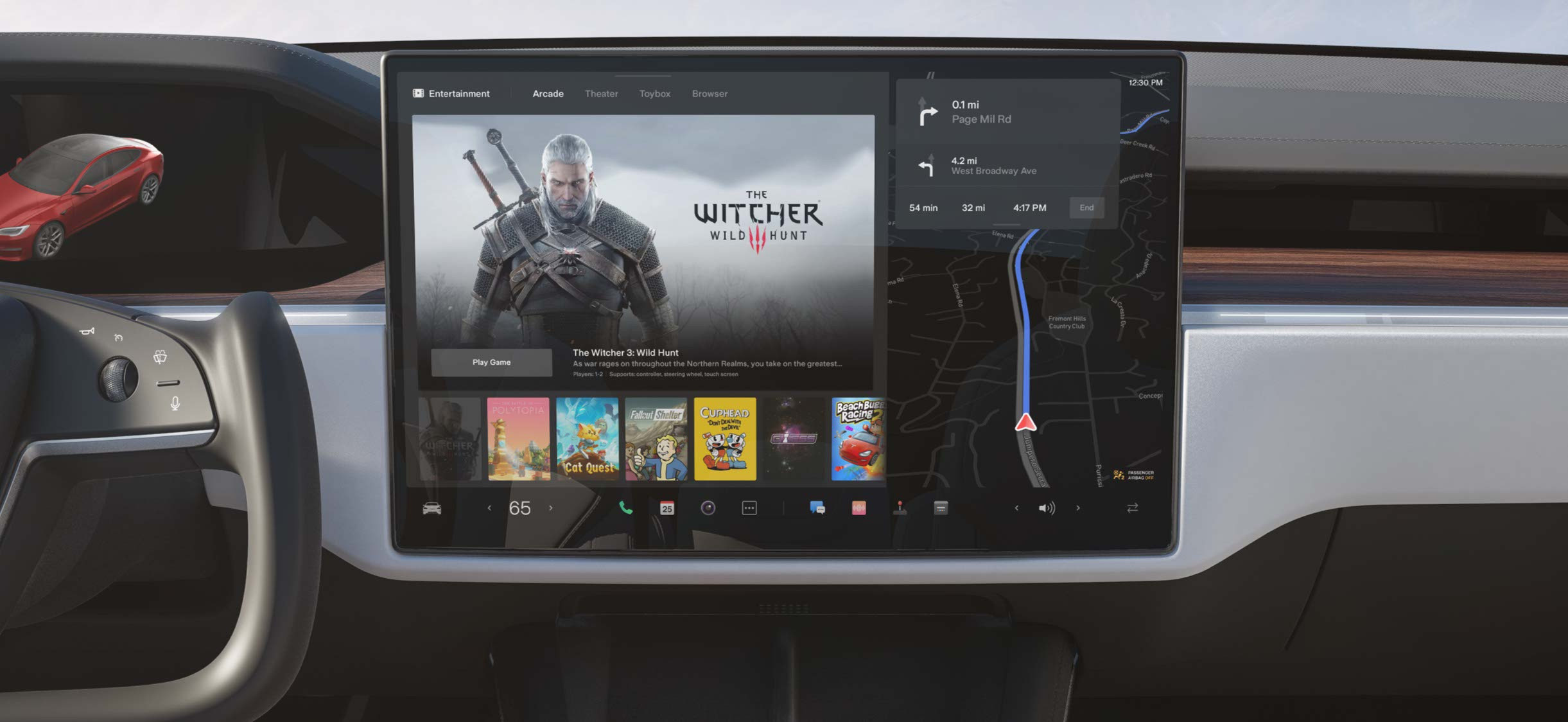 Model S center display with selection of entertainment