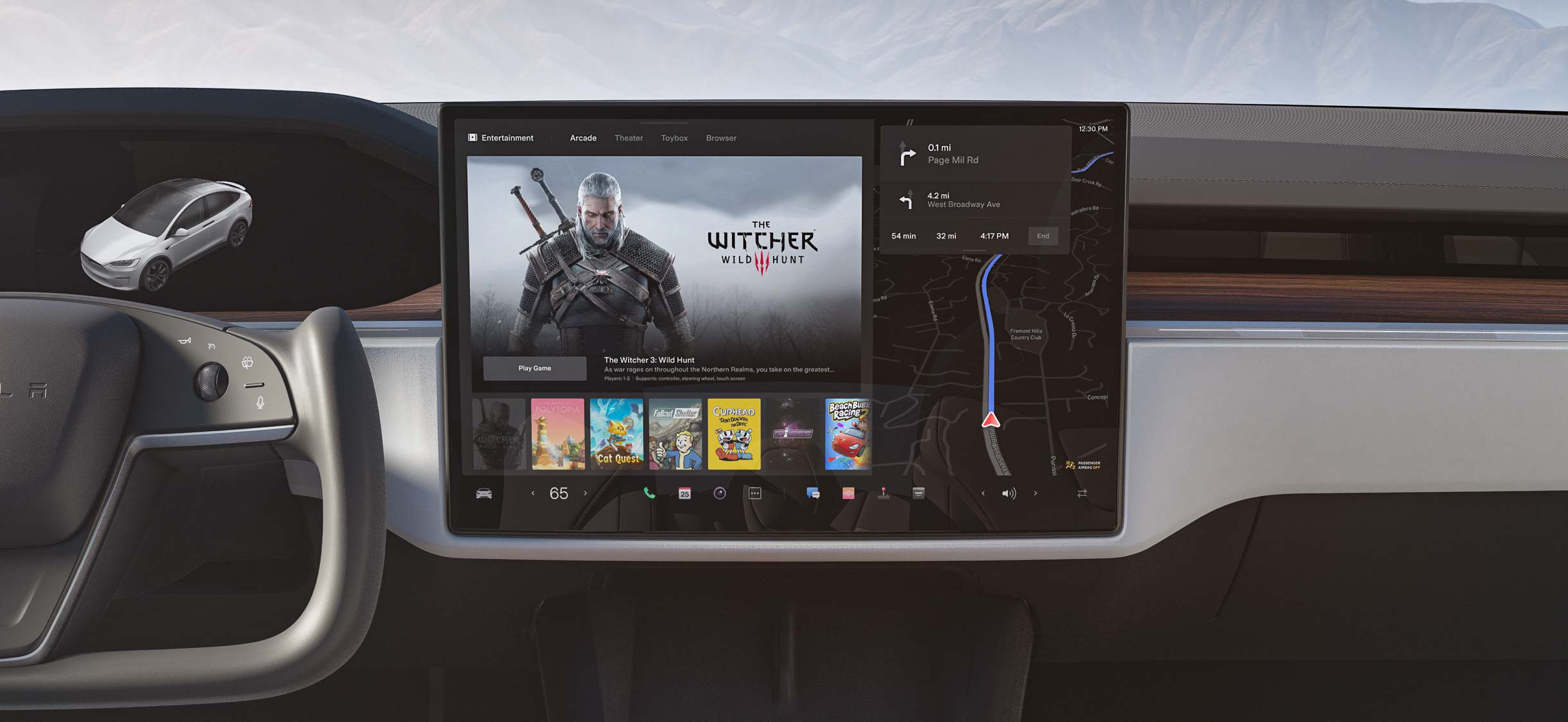 Model X center display with selection of entertainment