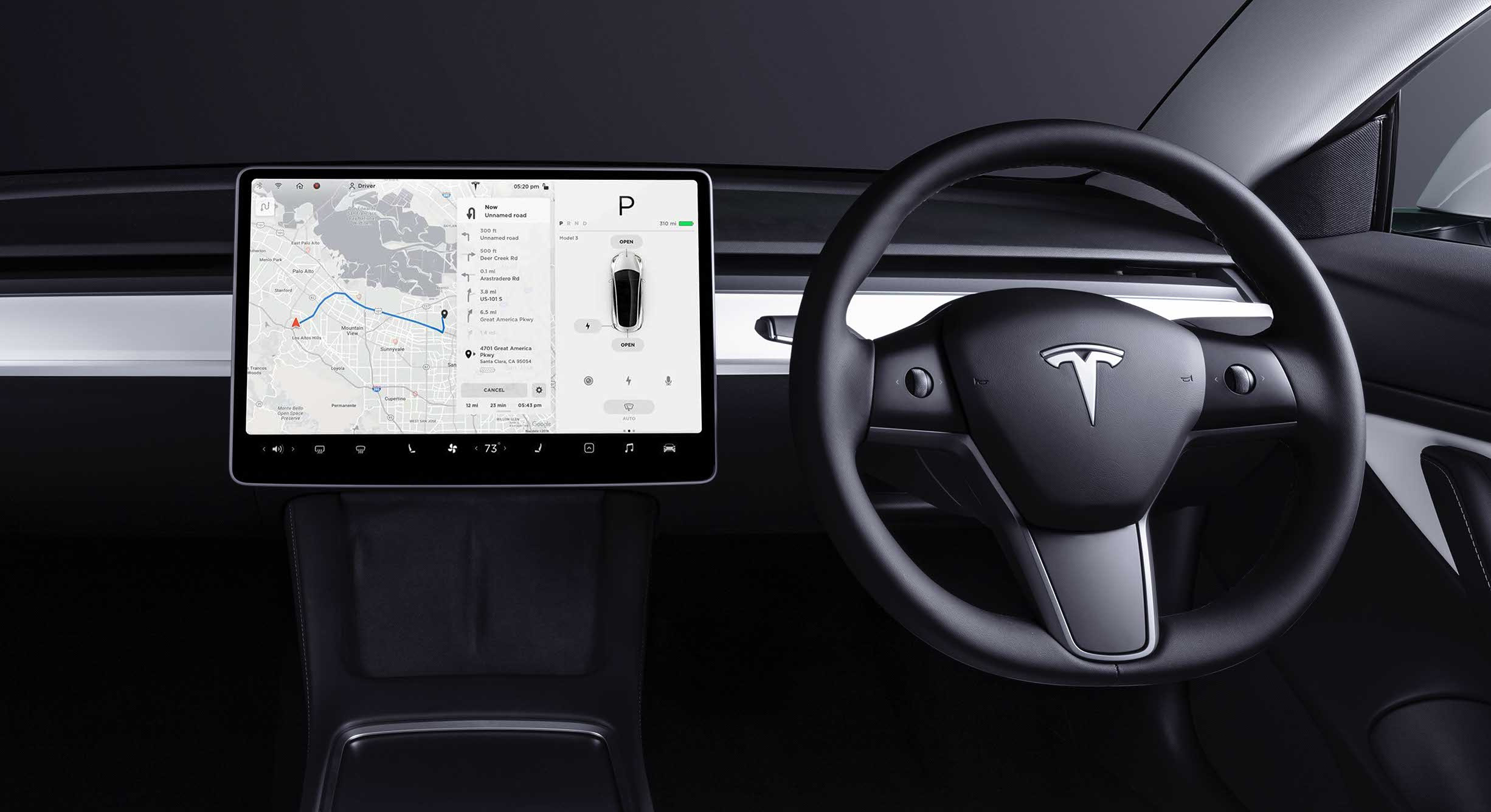 Navigation screen on Model 3 touchscreen