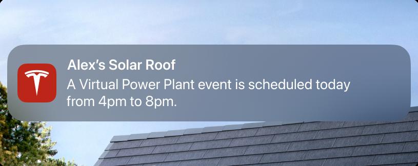 Tesla Virtual Power Plant Push Notification