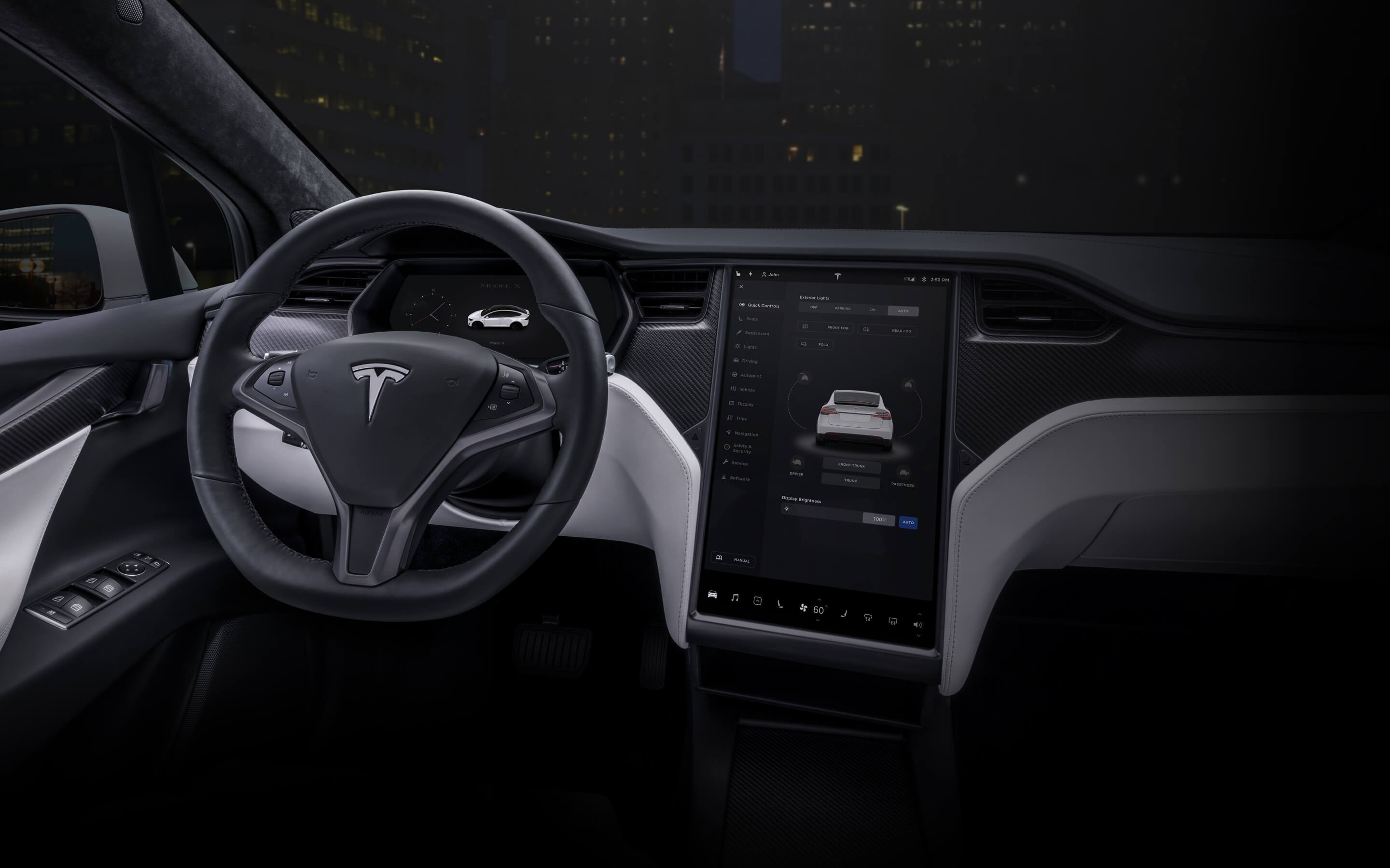 "White Model X interior with 17"" touchscreen and steering wheel"