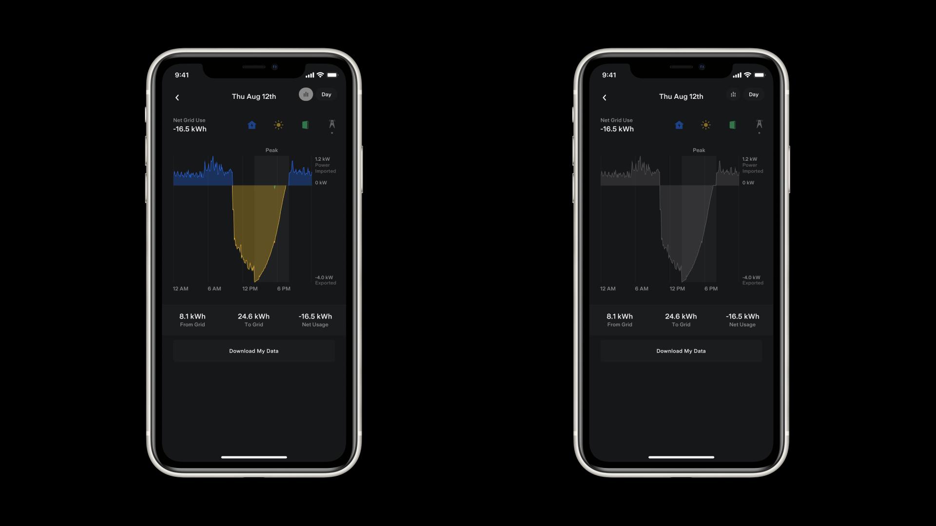 Tesla Mobile App Energy Data Grid Component