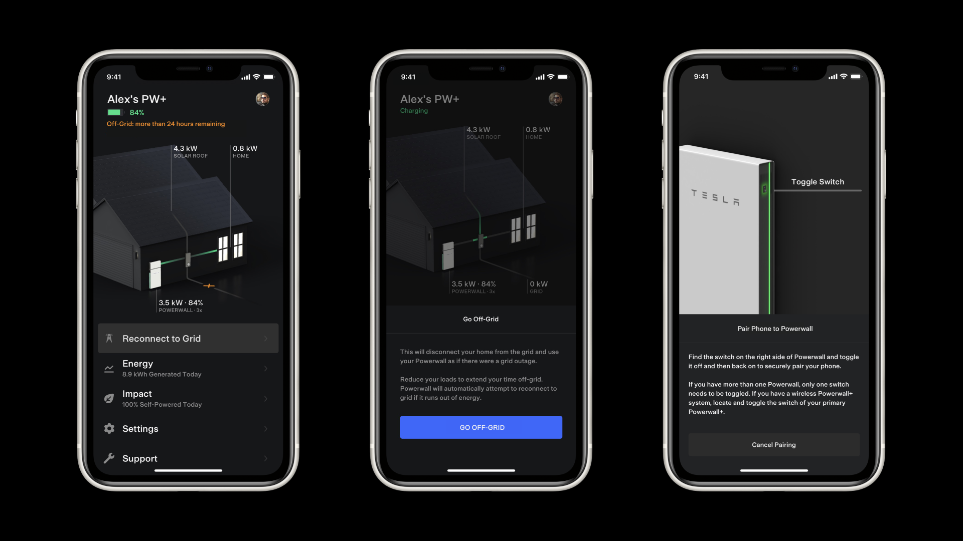 Tesla Mobile App Go Off-Grid Feature