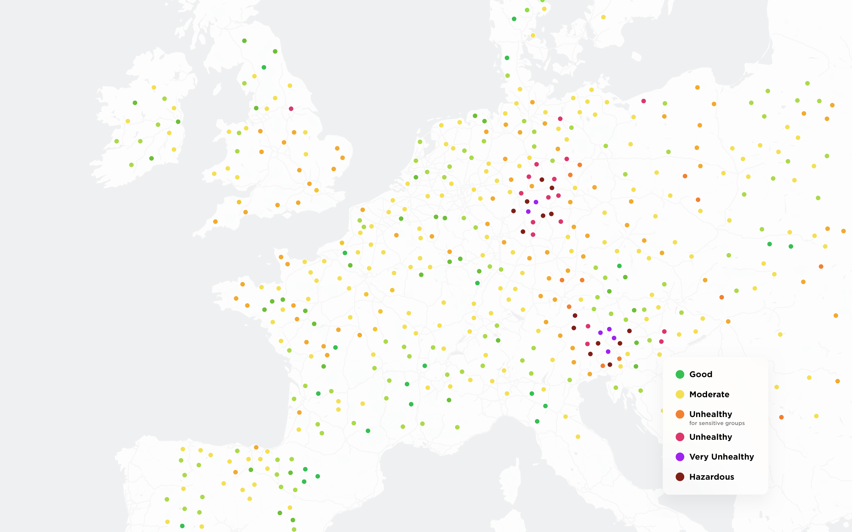 Colorful map showing levels of pollution in different regions