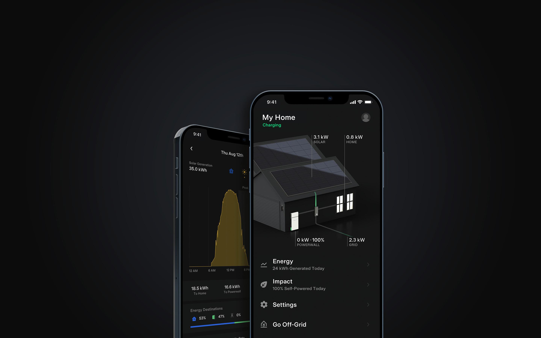 Tesla mobile app on iPhone